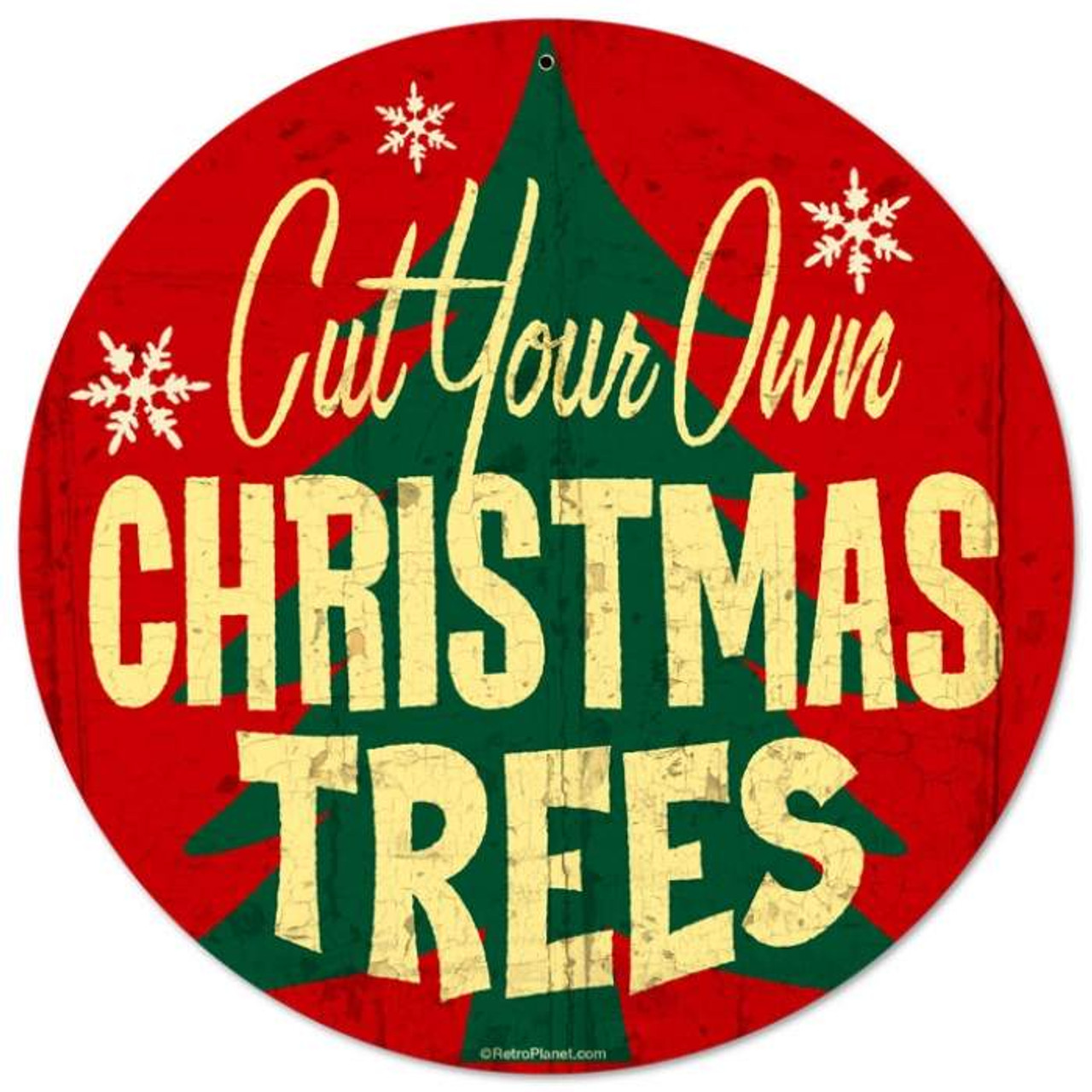 Retro Christmas Trees Metal Sign  14 x 14 Inches