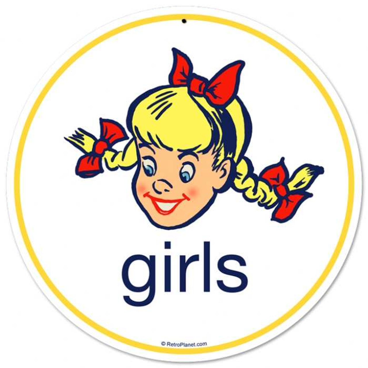 Retro Girls Metal Sign 14 x 14 Inches