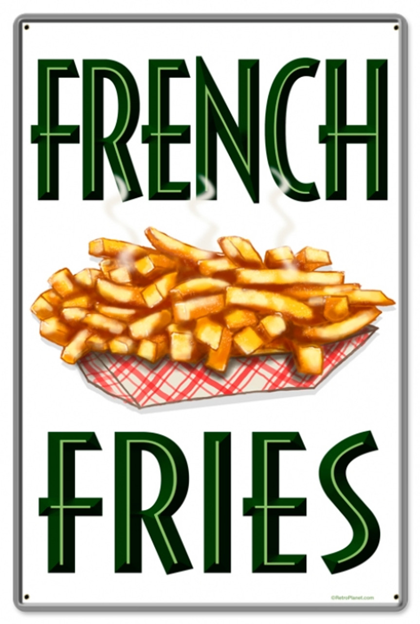 Retro French Fries Metal Sign 16 x 24 Inches