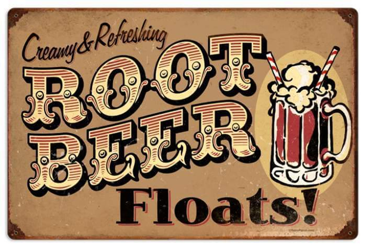 Retro Root Beer Floats Metal Sign 24 x 16 Inches