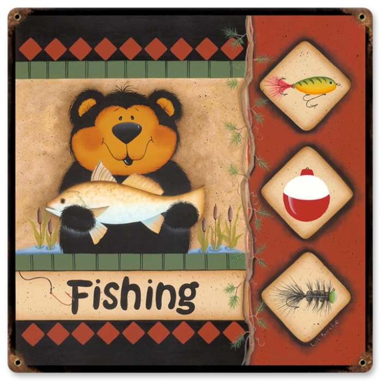 Retro Fishing Bear Metal Sign 18 x 18 Inches