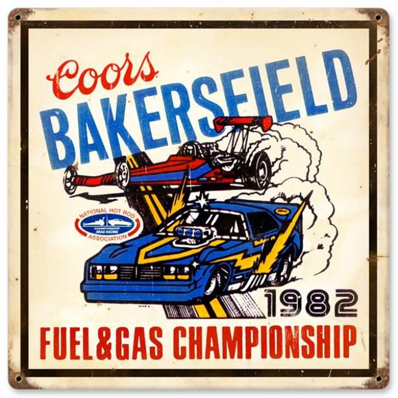 Vintage Bakersfield Coors Metal Sign 12 x 12 Inches