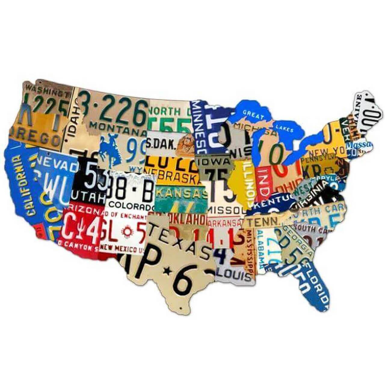 Retro License Plate USA Custom Shape Metal Sign 25 x 16 inches