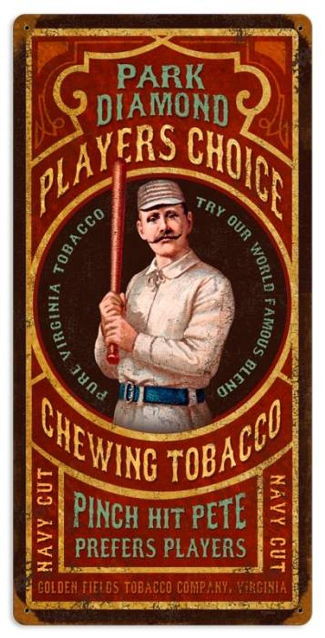 Vintage Park Diamond Tobacco Metal Sign 12 x 24 Inches