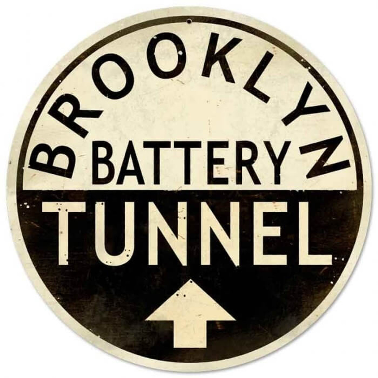 Retro Brooklyn Tunnel  Round Metal Sign 28 x 28 Inches