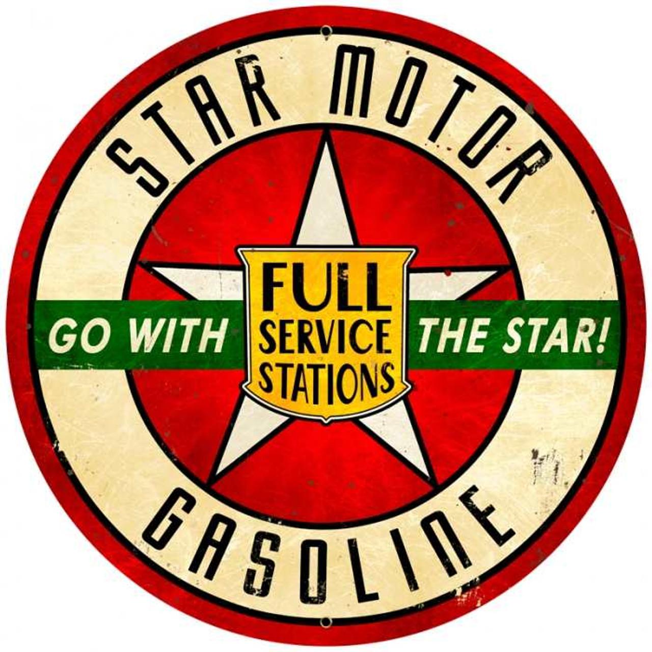 Retro Star Motor Gasoline Round Metal Sign 28 x 28 inches