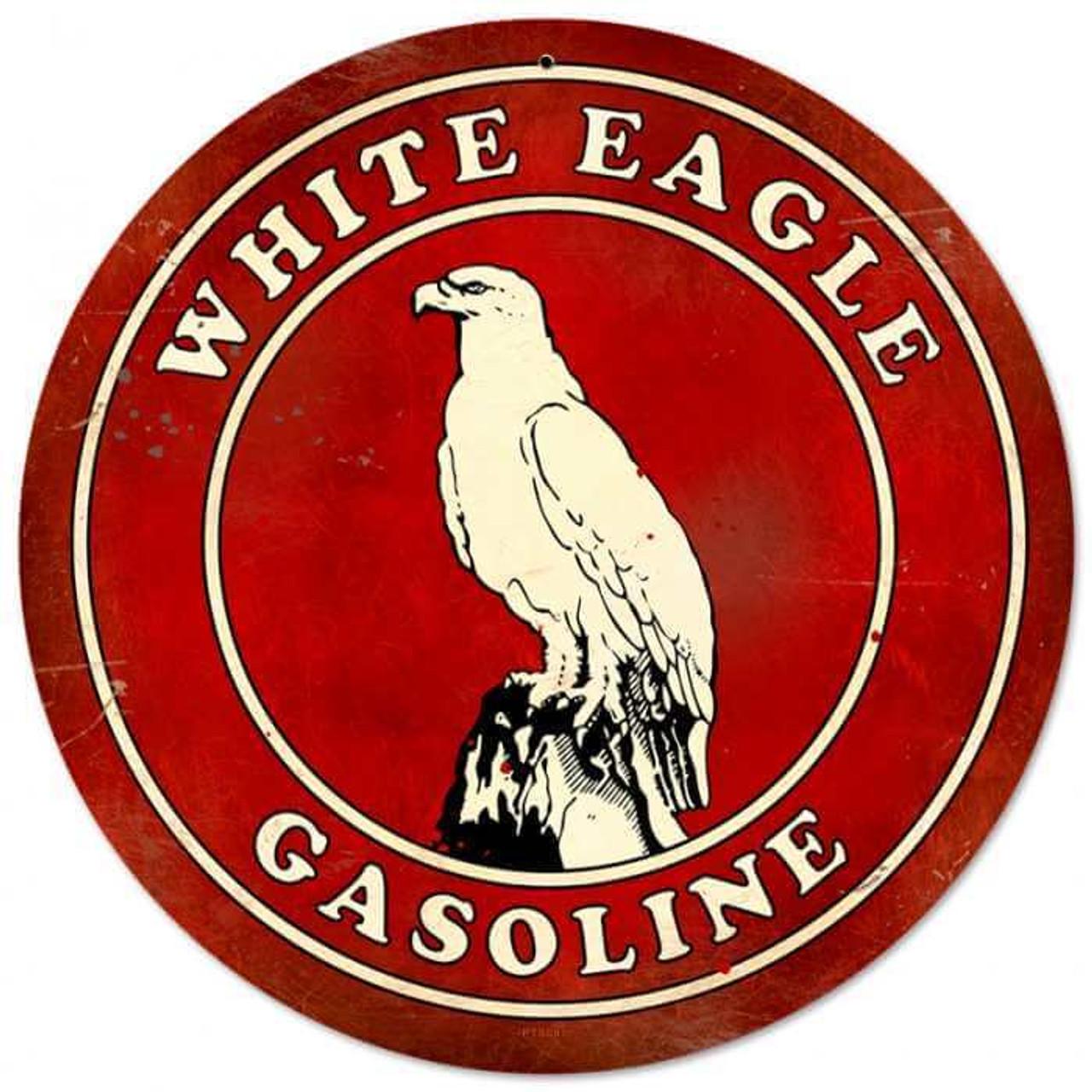 Retro White Eagle Gasoline Round Metal Sign 14 x 14 Inches