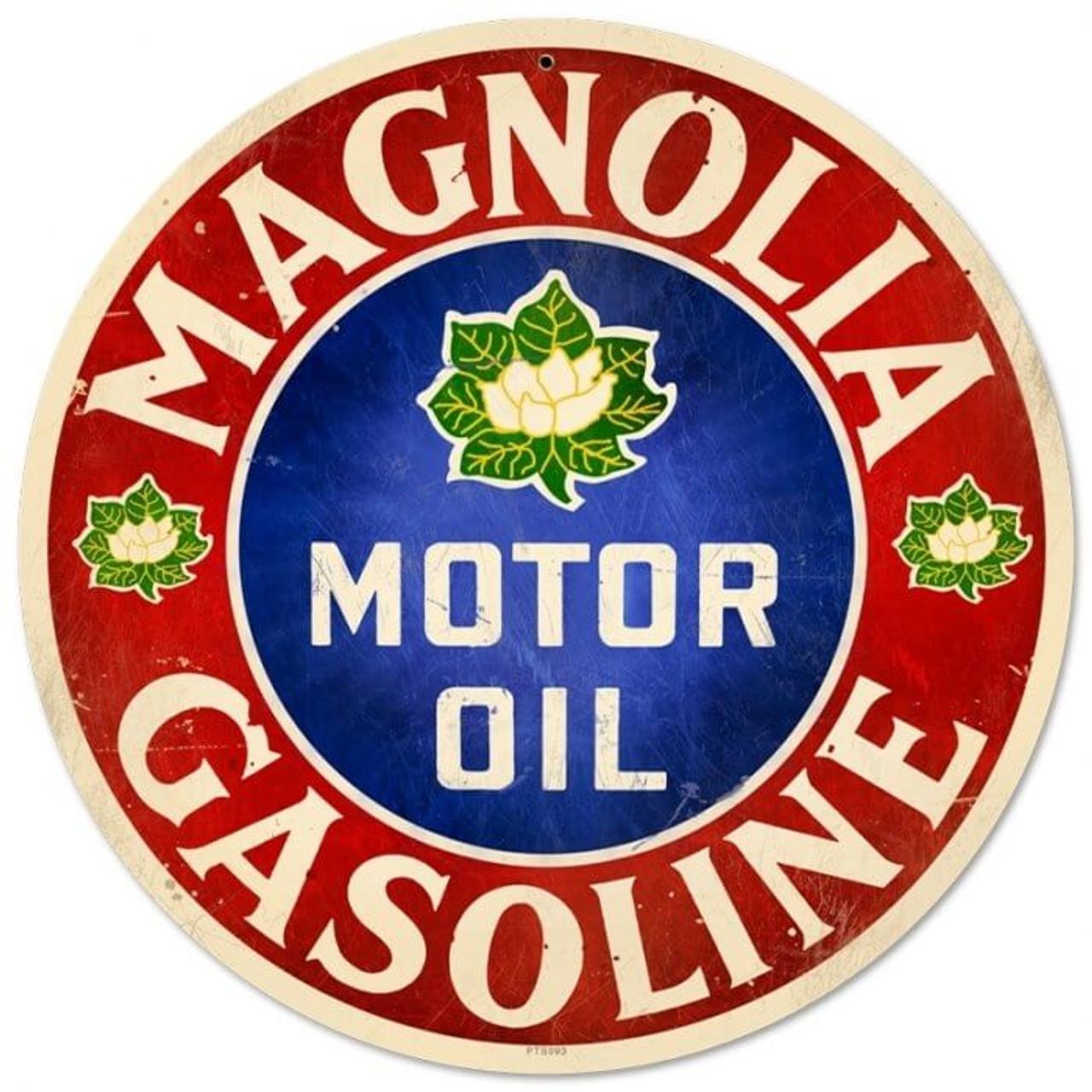 Retro Magnolia Motor Oil Round Metal Sign 14 x 14 Inches
