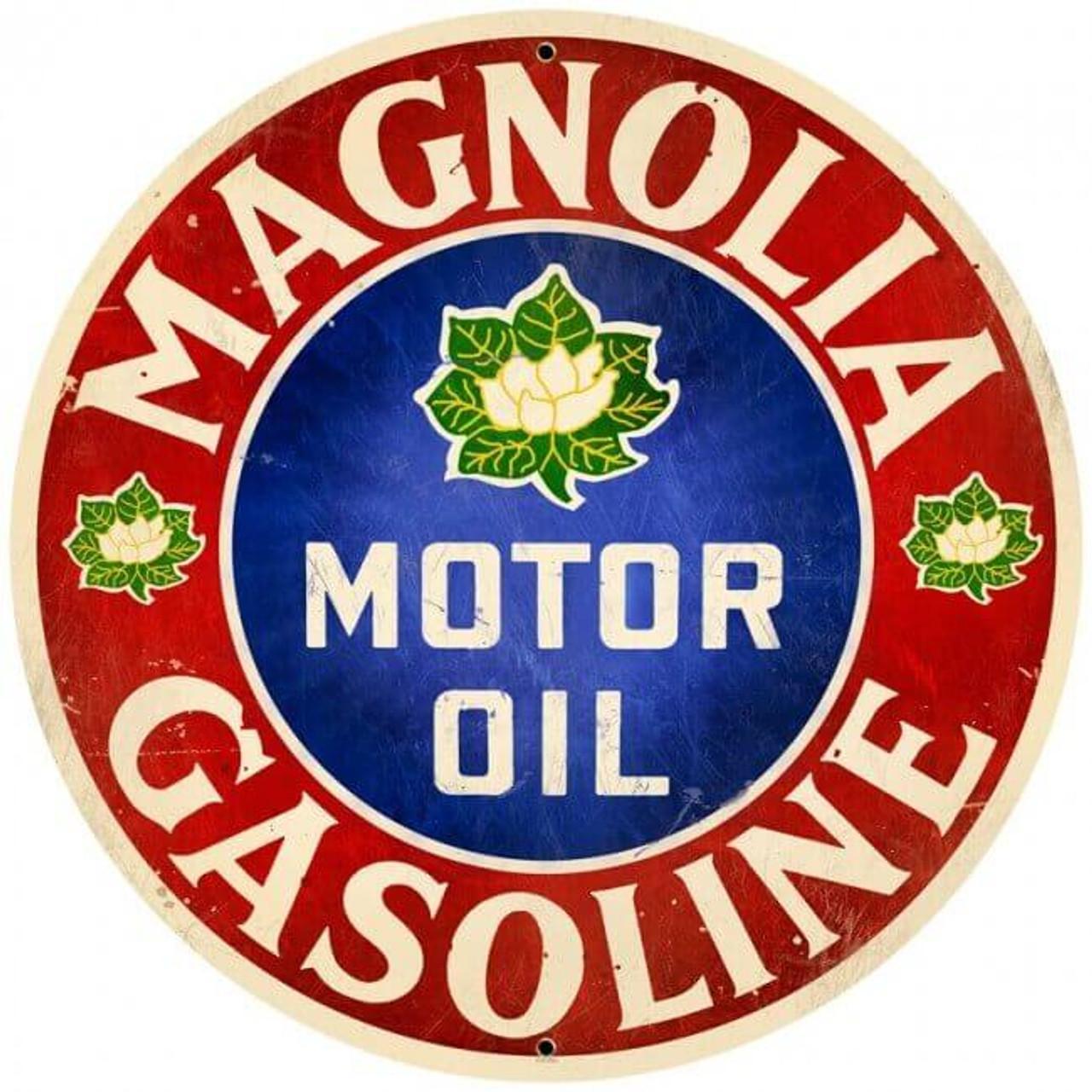 Retro Magnolia Motor Oil  Round Metal Sign 28 x 28 inches