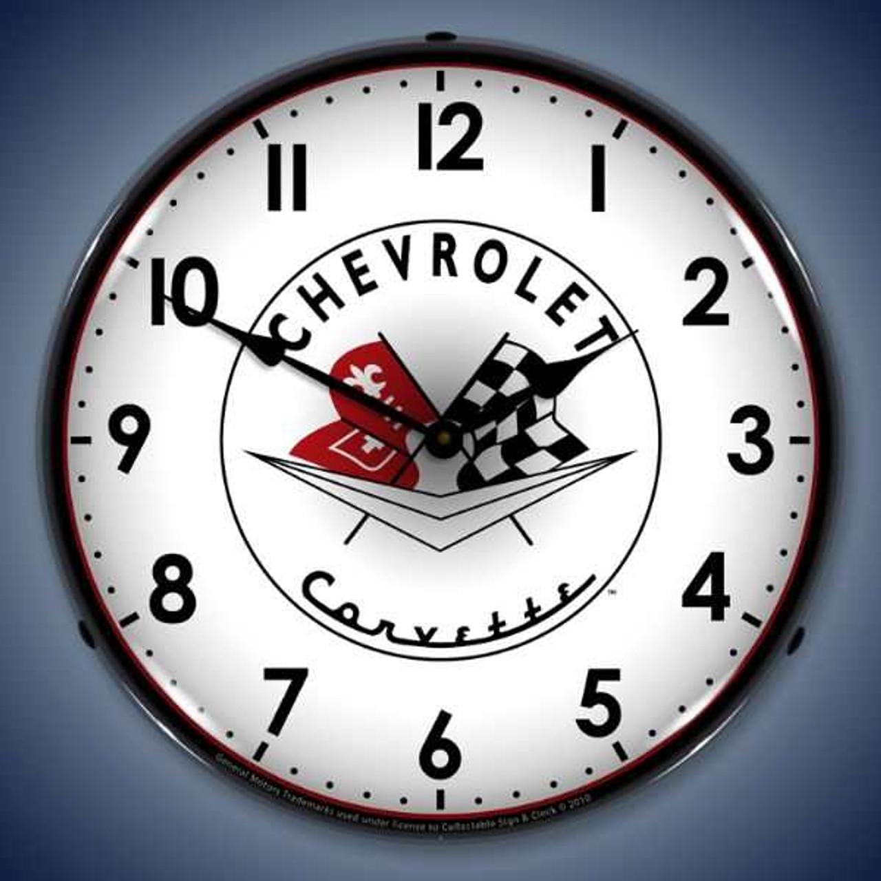 Retro  1956-57 Corvette logo Lighted Wall Clock 14 x 14 Inches