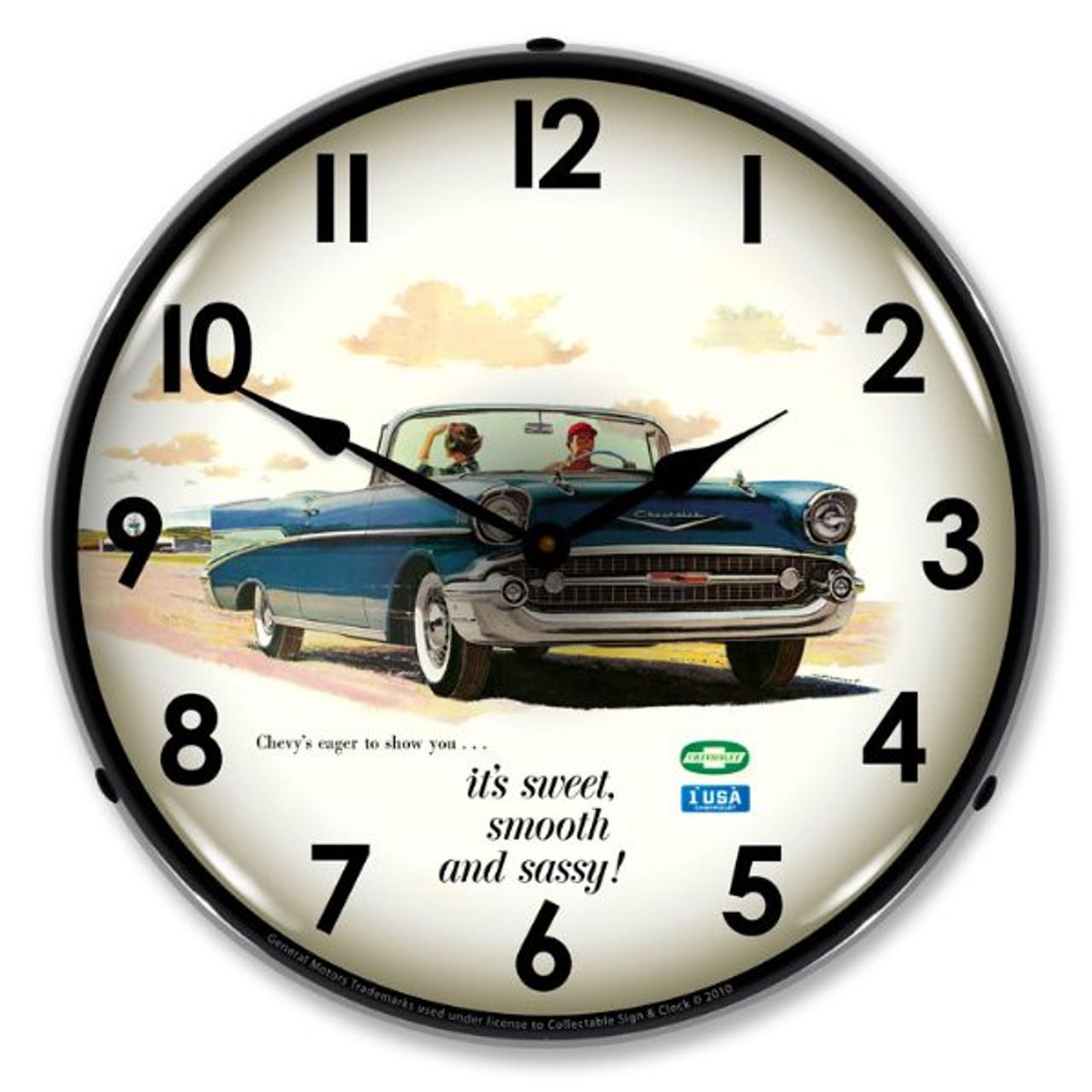 1957 Bel Air Convertible Lighted Wall Clock