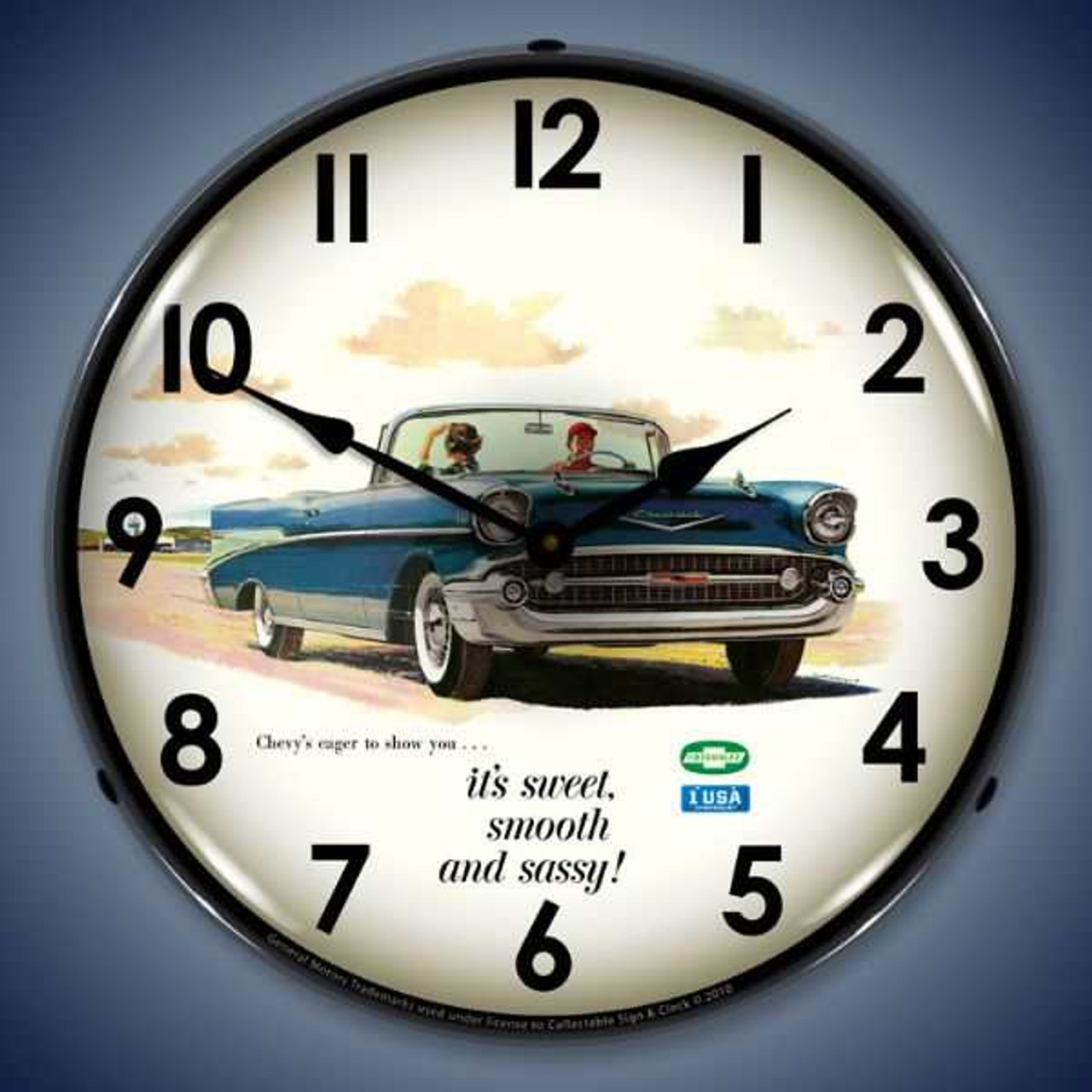 Retro  1957 Bel Air Convertible Lighted Wall Clock 14 x 14 Inches