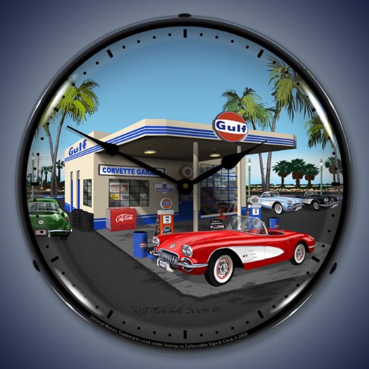 Retro  1959 Corvette Lighted Wall Clock 14 x 14 Inches