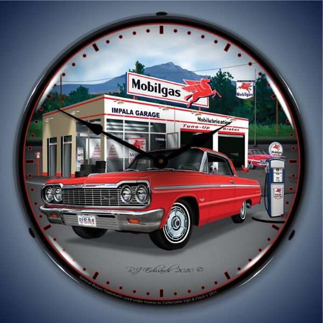 Retro  1964 Impala Garage Lighted Wall Clock 14 x 14 Inches