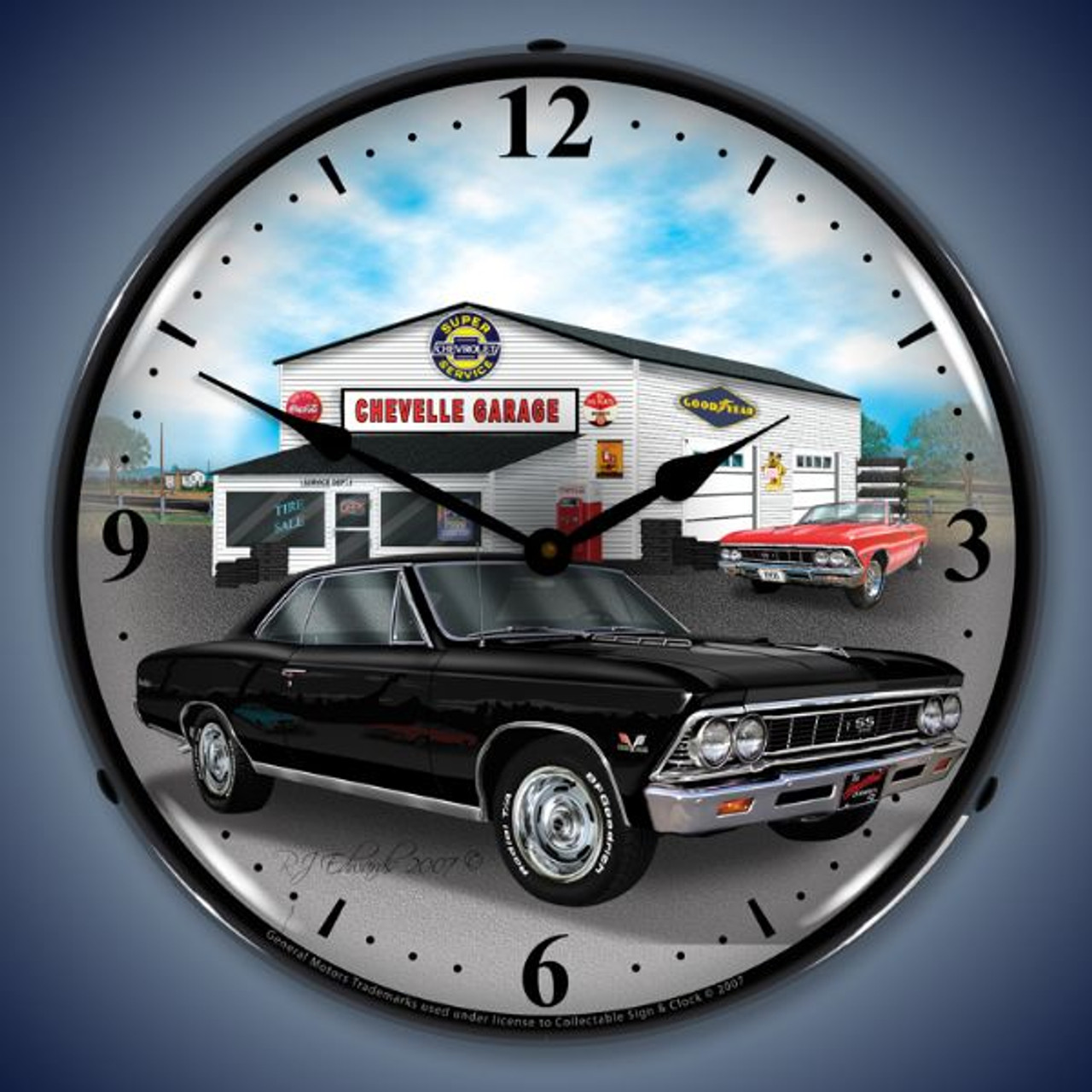 Retro  1966 Chevelle Lighted Wall Clock 14 x 14 Inches