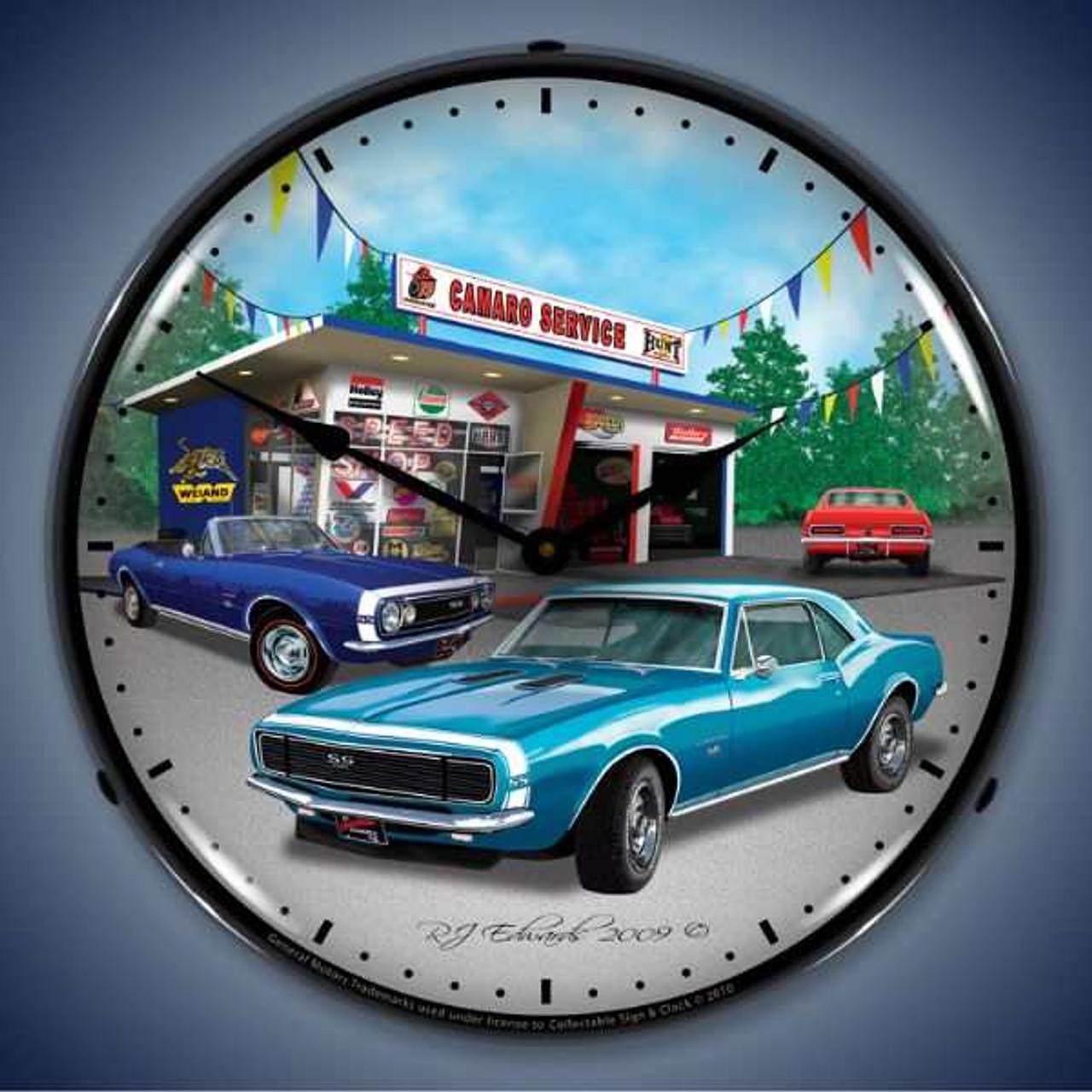 Retro  1967 Camaro Lighted Wall Clock 14 x 14 Inches