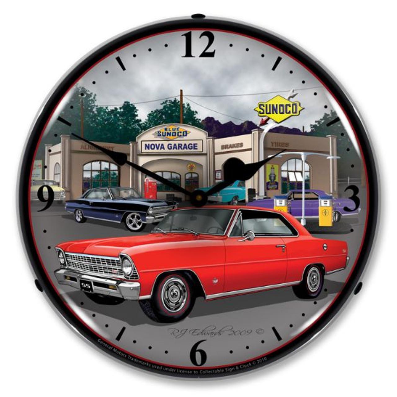 1967 Nova (red) Lighted Wall Clock