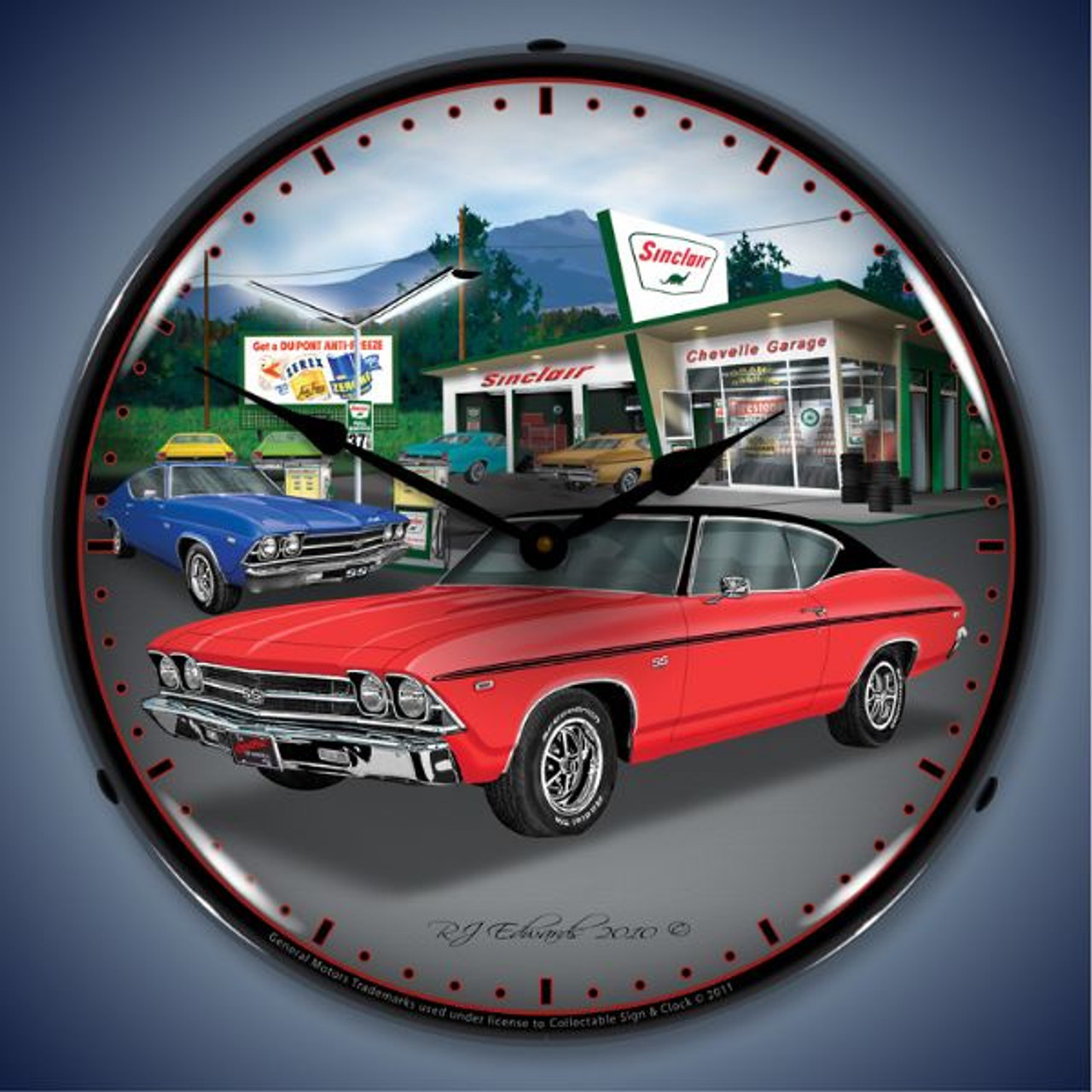Retro  1969 Chevelle Lighted Wall Clock 14 x 14 Inches