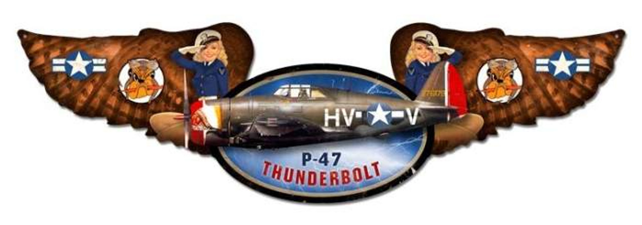 Vintage Thunderbolt Winged Oval Metal Sign 10 x 35 Inches