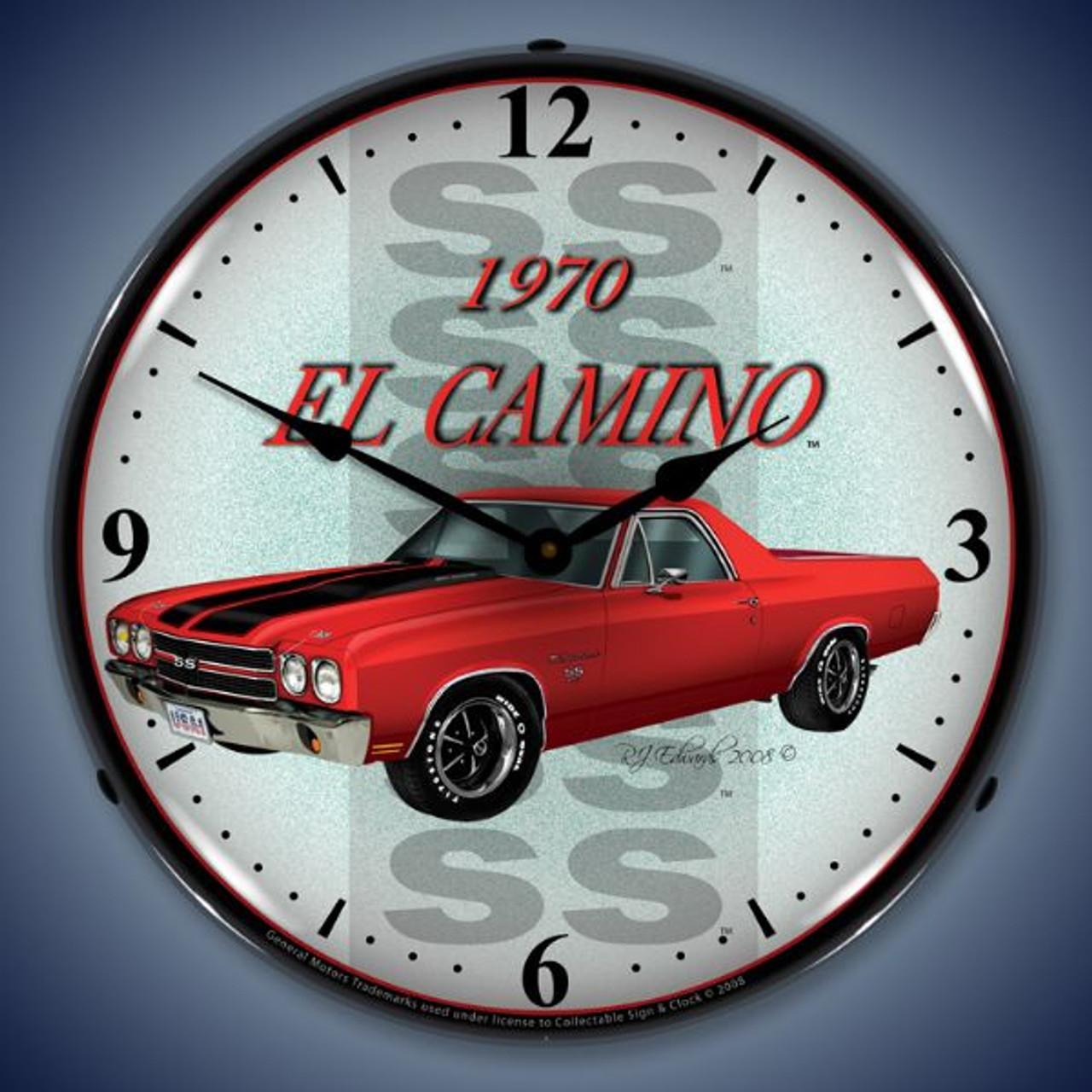 Retro  1970 El Camino Lighted Wall Clock 14 x 14 Inches