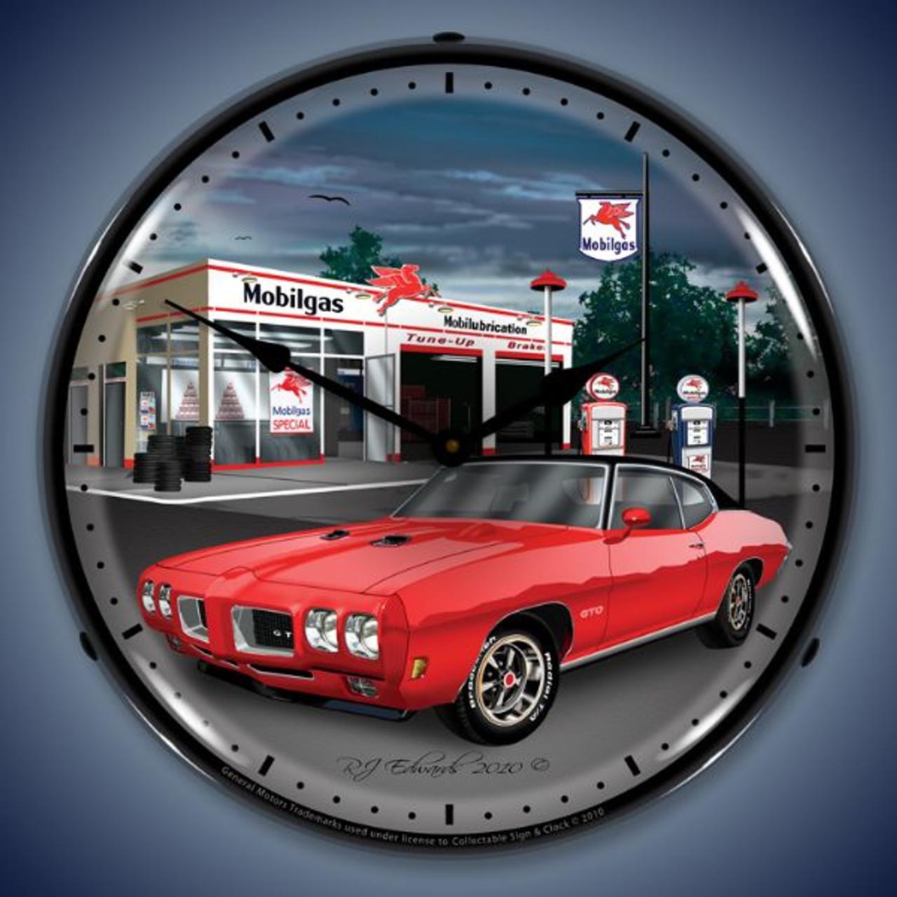 Retro  1970 GTO Mobilgas Lighted Wall Clock 14 x 14 Inches