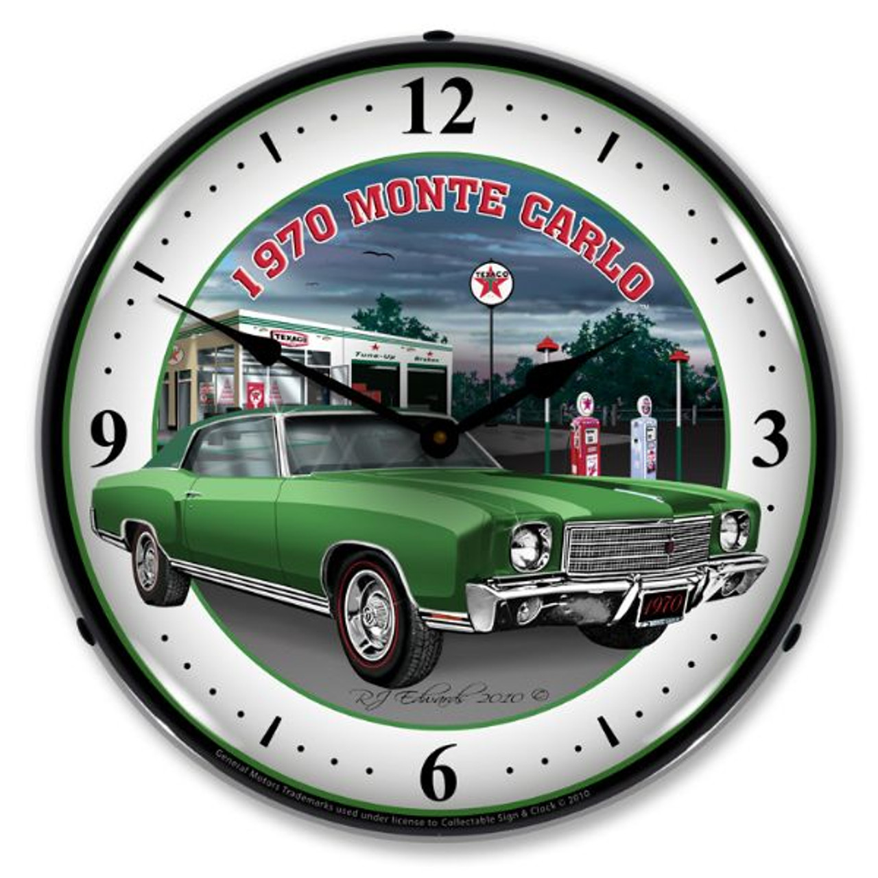 1970 Monte Carlo Green Lighted Wall Clock