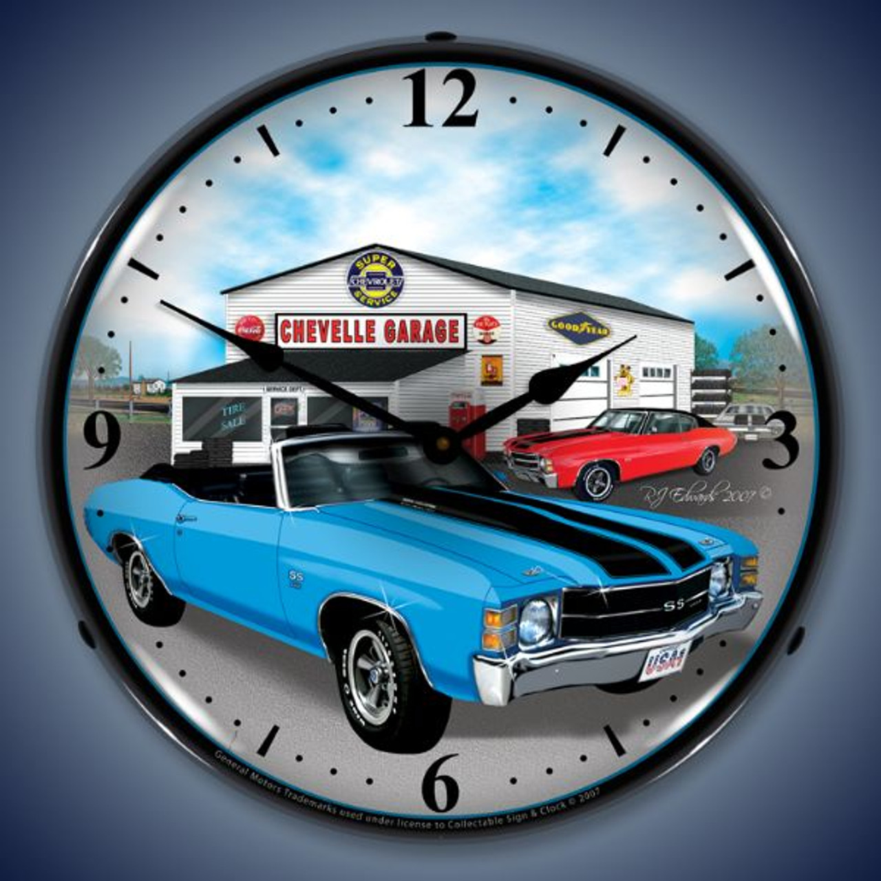 Retro  1971 Chevelle Lighted Wall Clock 14 x 14 Inches