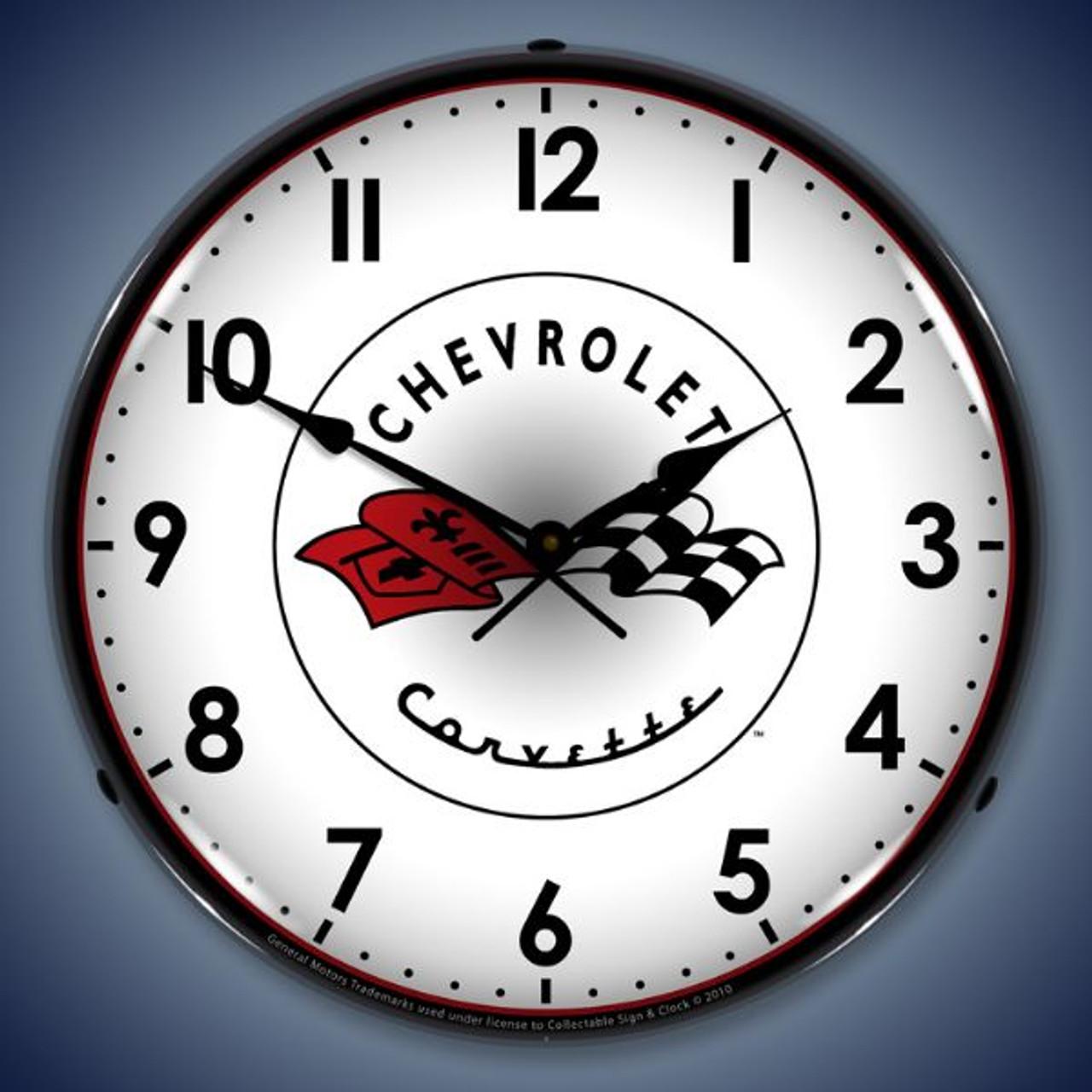 Retro  C1 Corvette Lighted Wall Clock 14 x 14 Inches