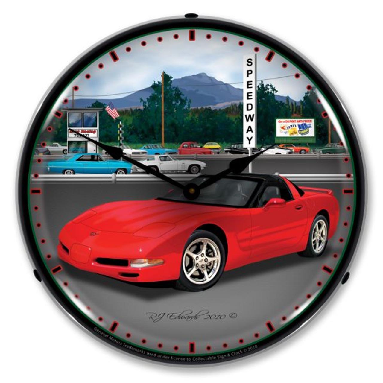 C5   Raceway Lighted Wall Clock