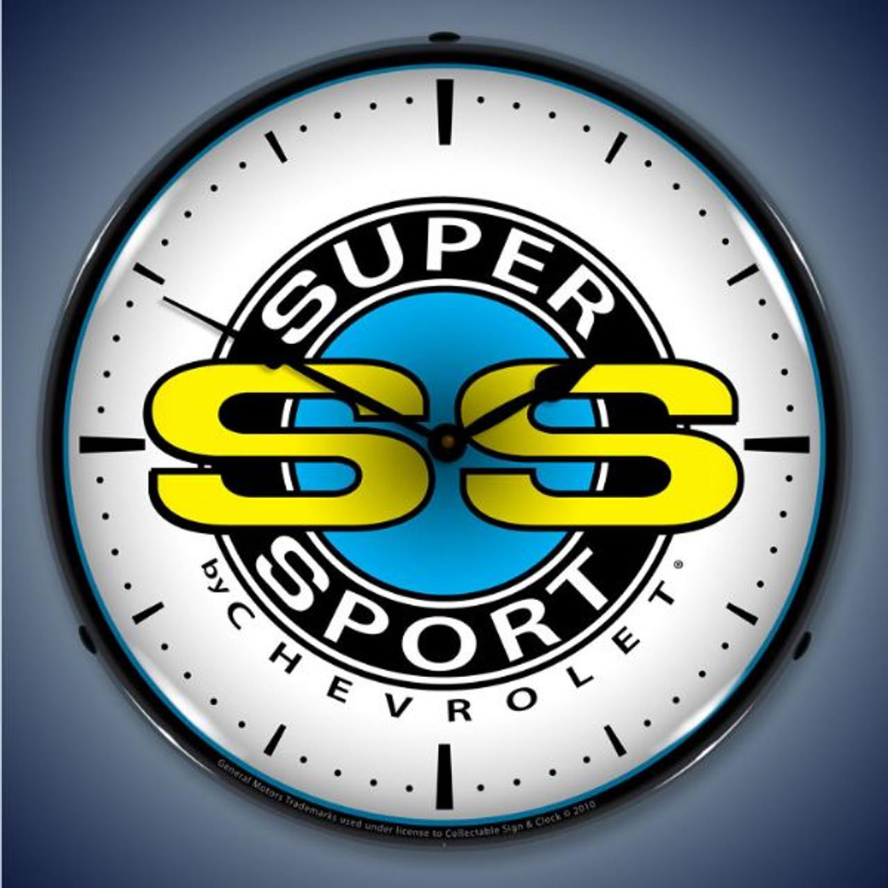 Retro  Chevrolet Super Sport Lighted Wall Clock 14 x 14 Inches