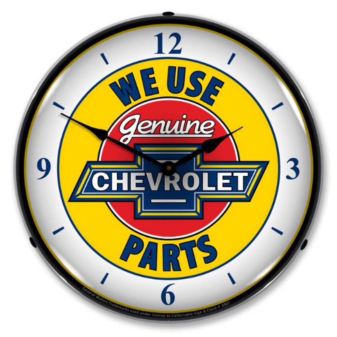 Chevy Parts 2 W/numbers Lighted Wall Clock