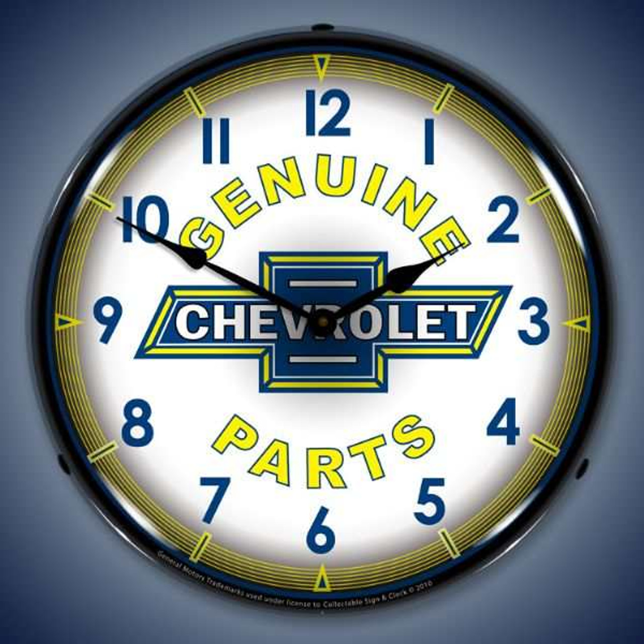 Retro Genuine Chevy Parts Lighted Wall Clock 14 x 14 Inches