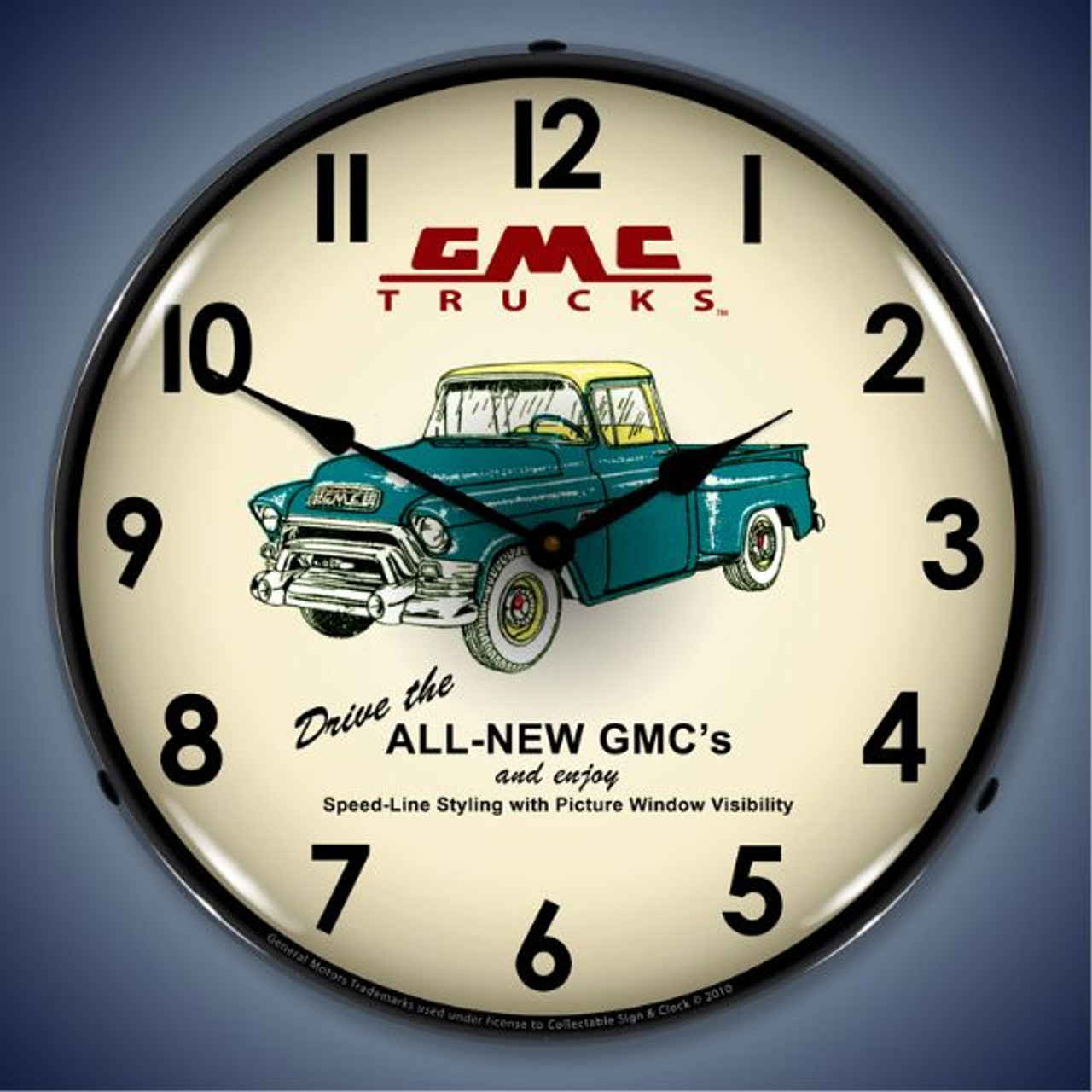 Retro  GMC Trucks 1956 Lighted Wall Clock 14 x 14 Inches