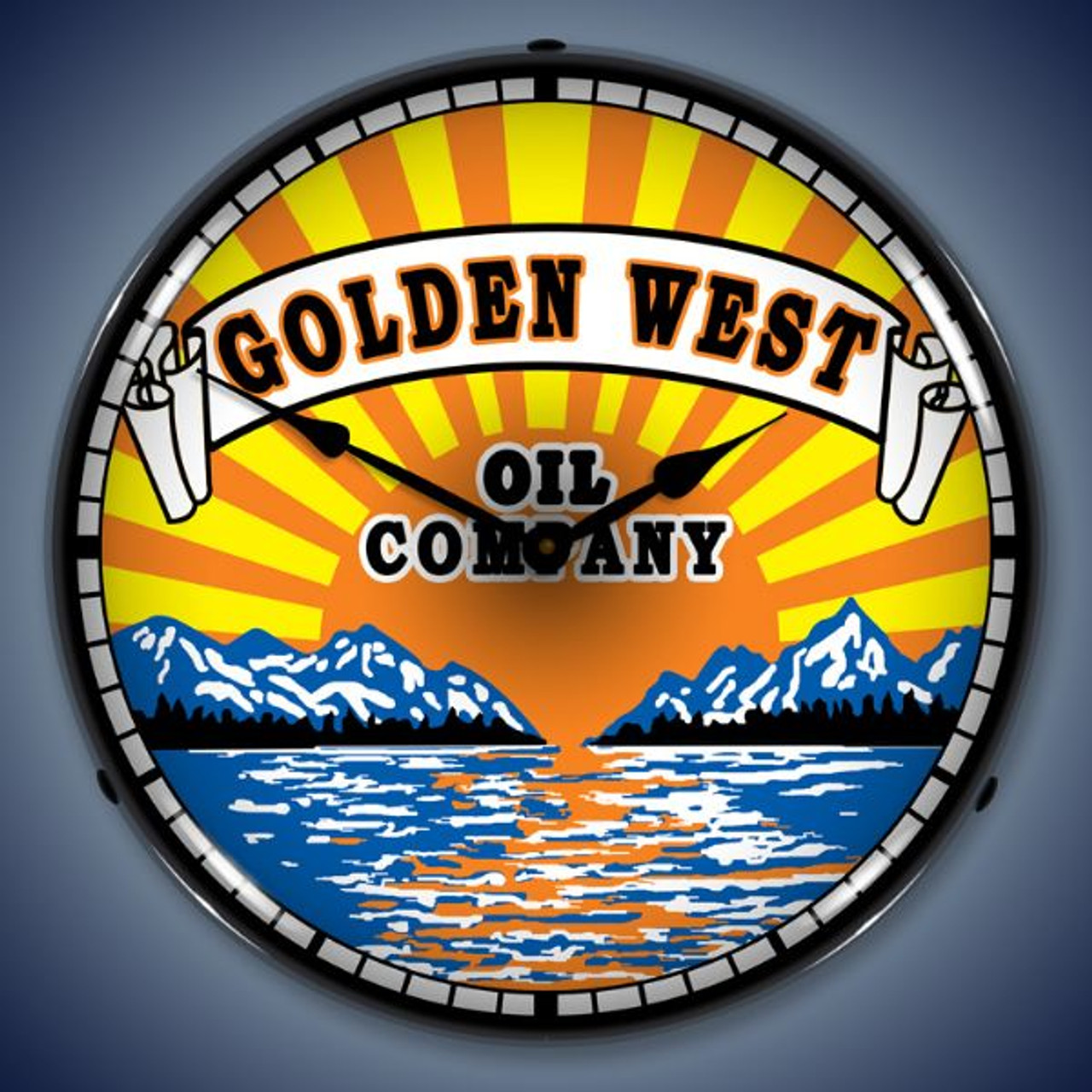 Retro  Golden West Lighted Wall Clock 14 x 14 Inches