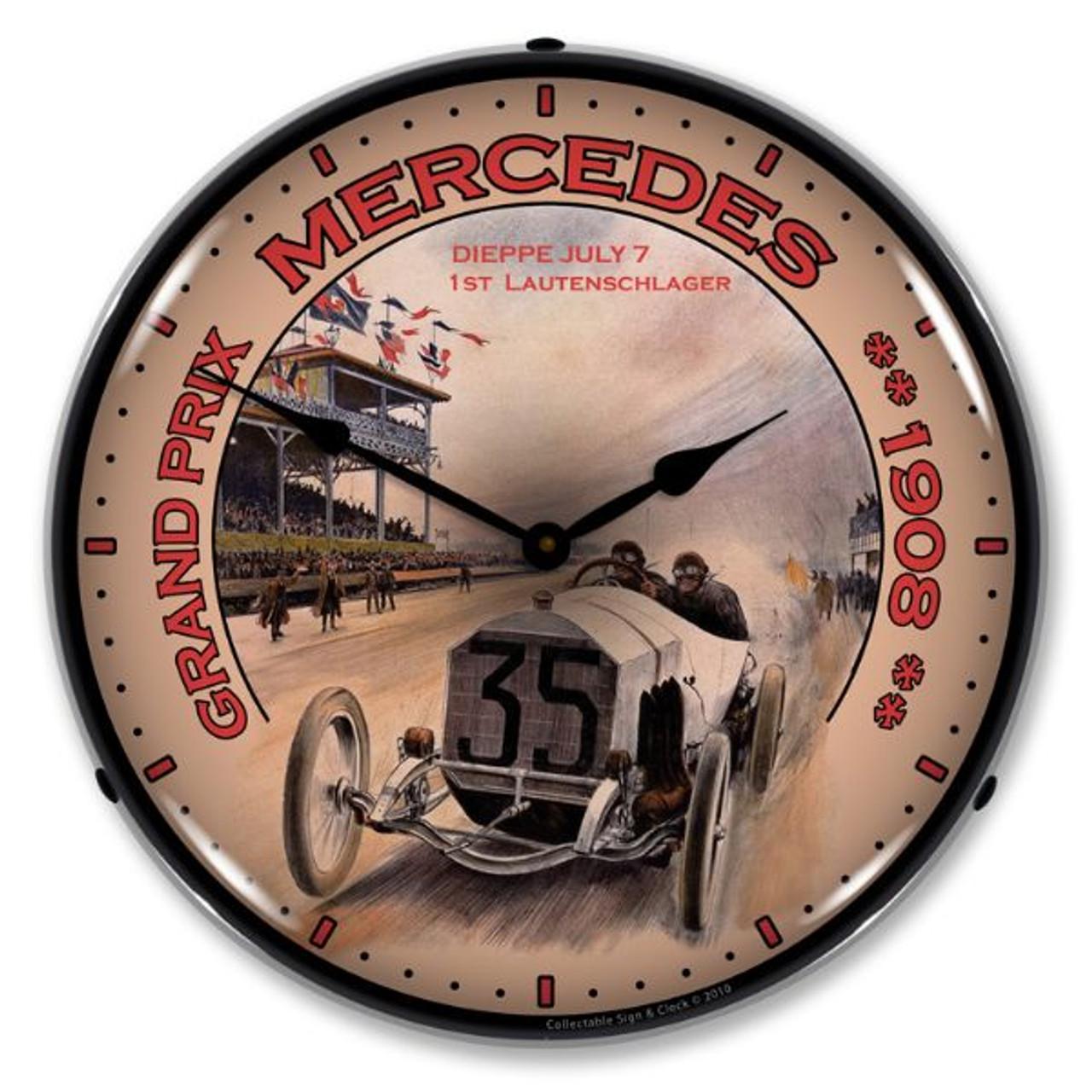 Grand Prix Mercedes Lighted Wall Clock