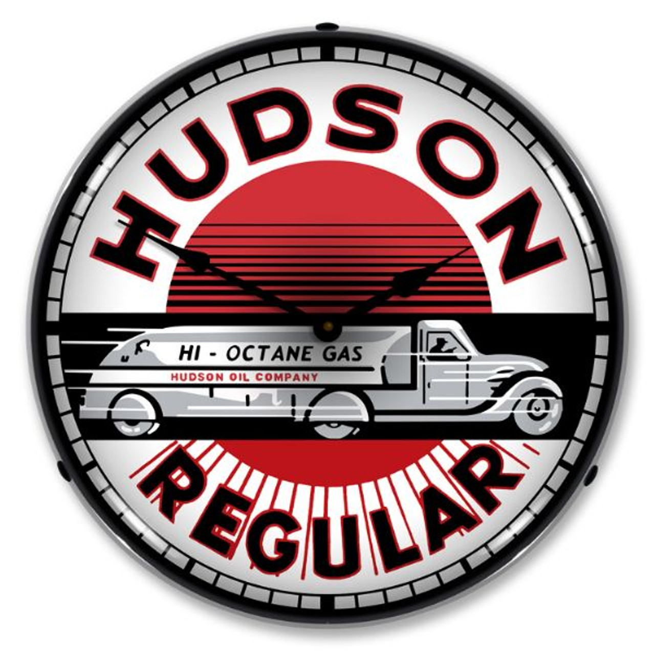 Hudson Gas Lighted Wall Clock