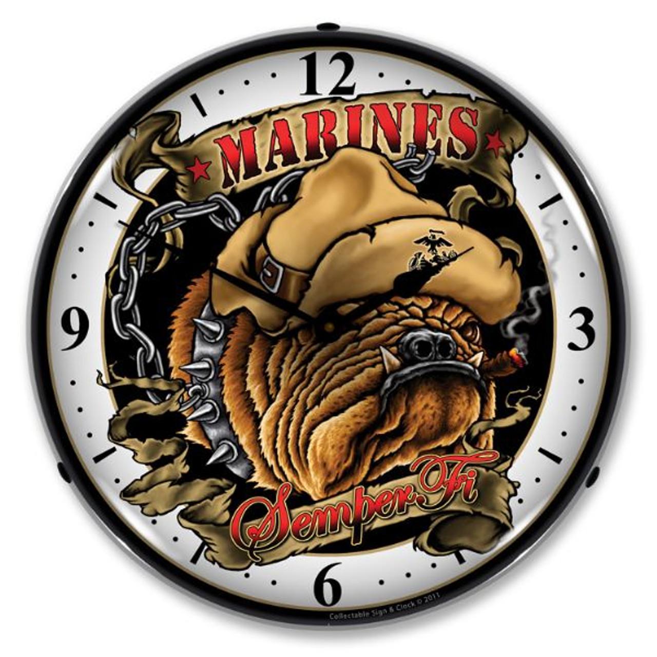 Marine Bulldog Lighted Wall Clock