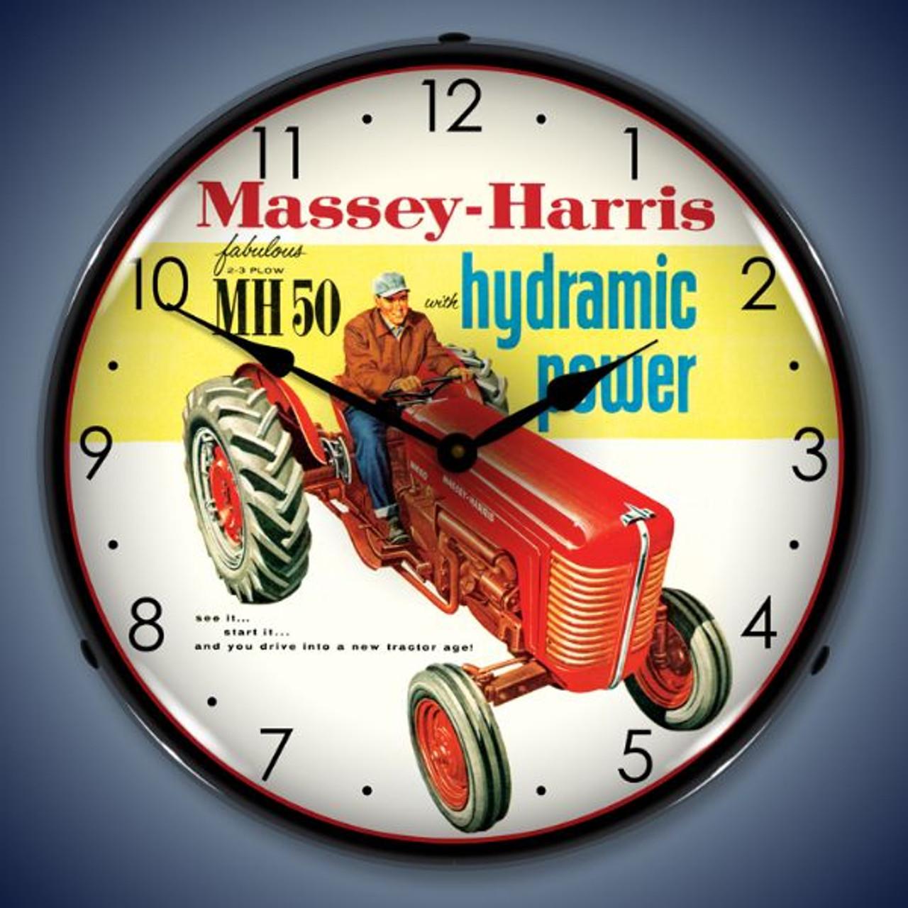 Retro  Massey-Harris Lighted Wall Clock 14 x 14 Inches