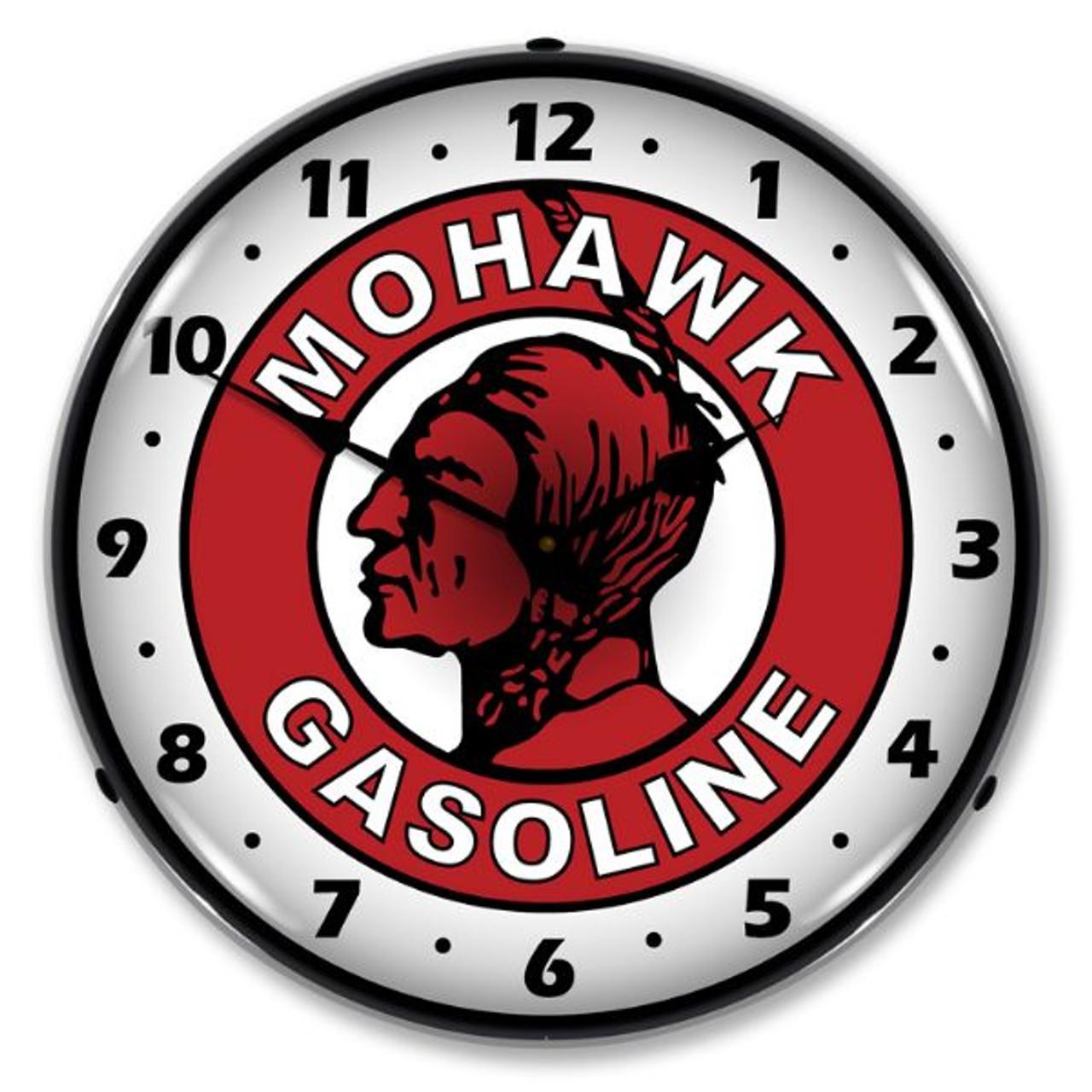 Mohawk Gasoline Lighted Wall Clock