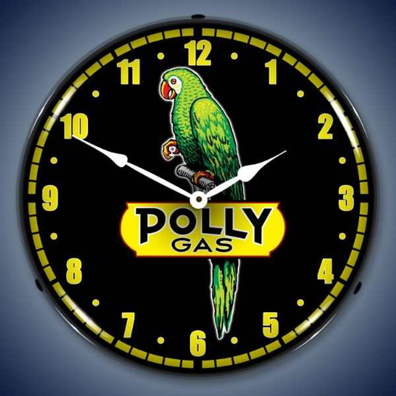 Retro  Polly Gas Lighted Wall Clock 14 x 14 Inches