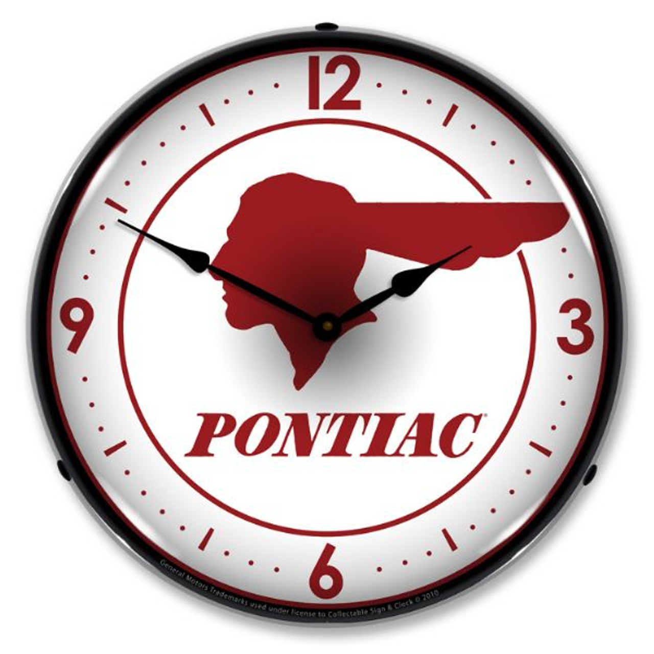 Pontiac Indian Lighted Wall Clock