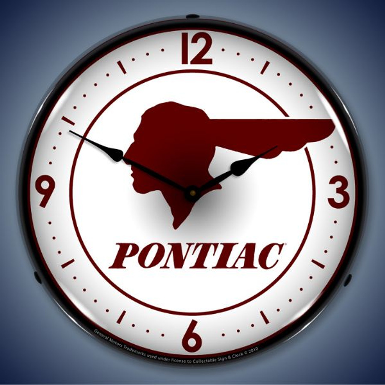 Retro  Pontiac Indian Lighted Wall Clock 14 x 14 Inches