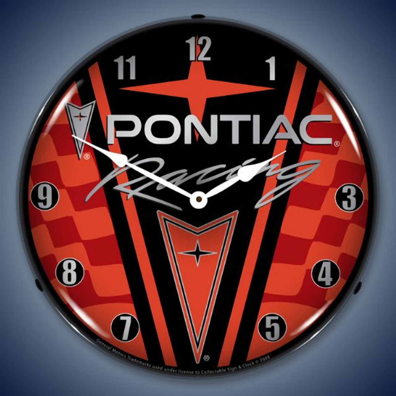 Retro  Pontiac Racing Lighted Wall Clock 14 x 14 Inches
