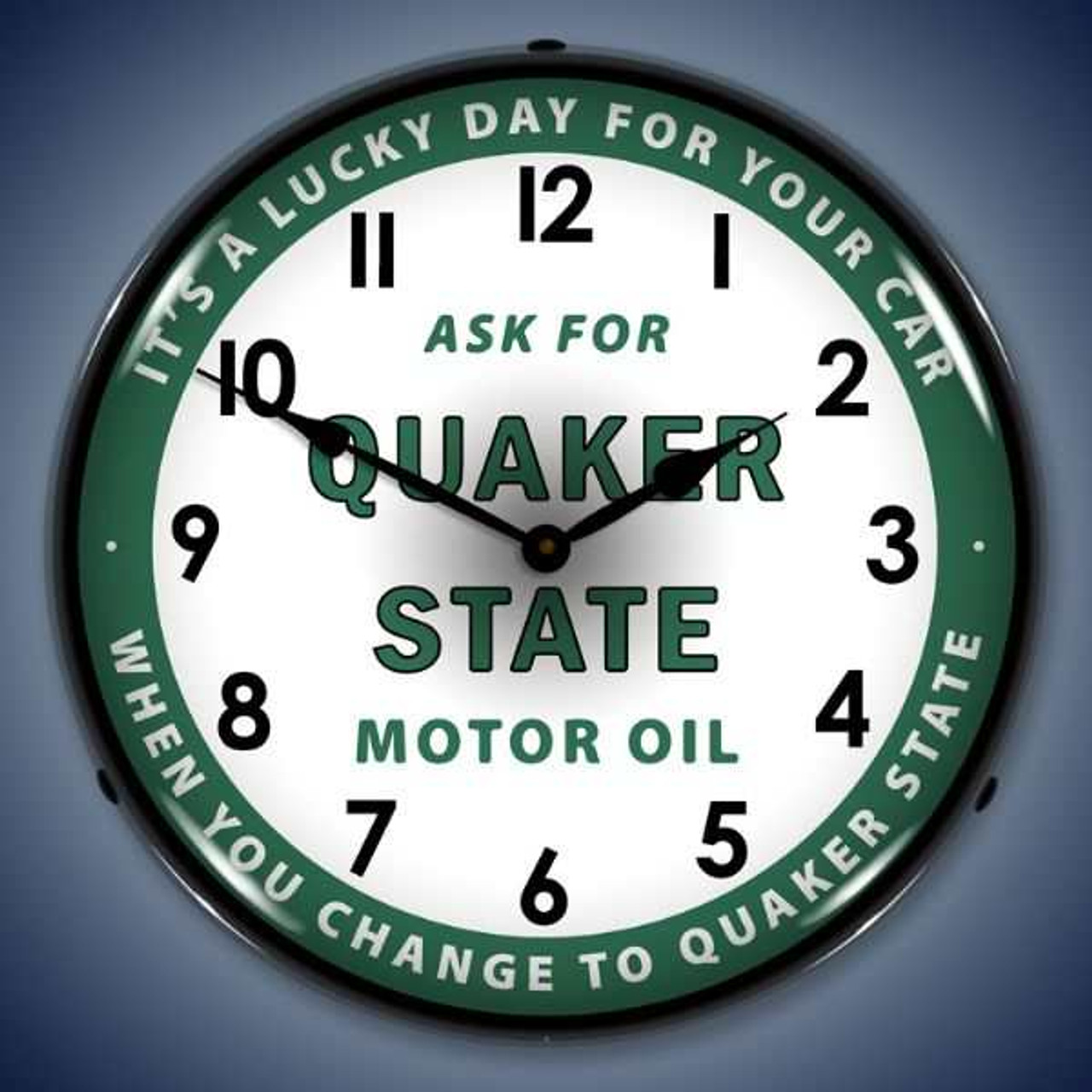 Retro  Quaker State Oil Lighted Wall Clock 14 x 14 Inches