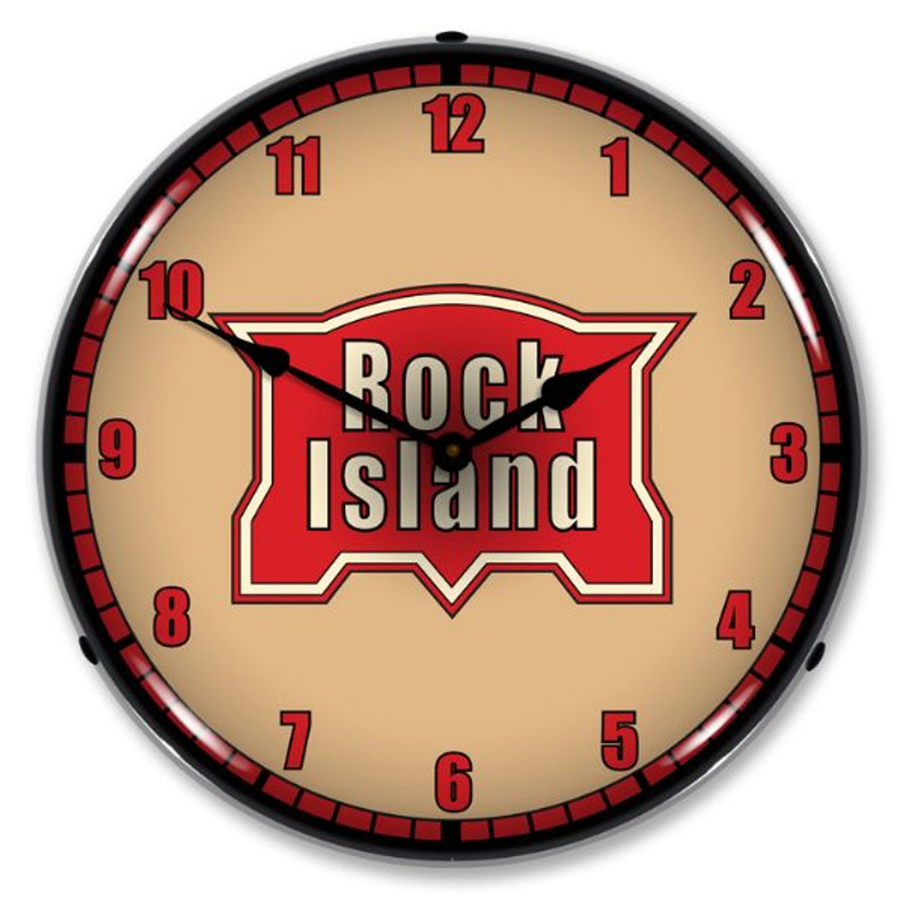 Rock Island Railroad Lighted Wall Clock