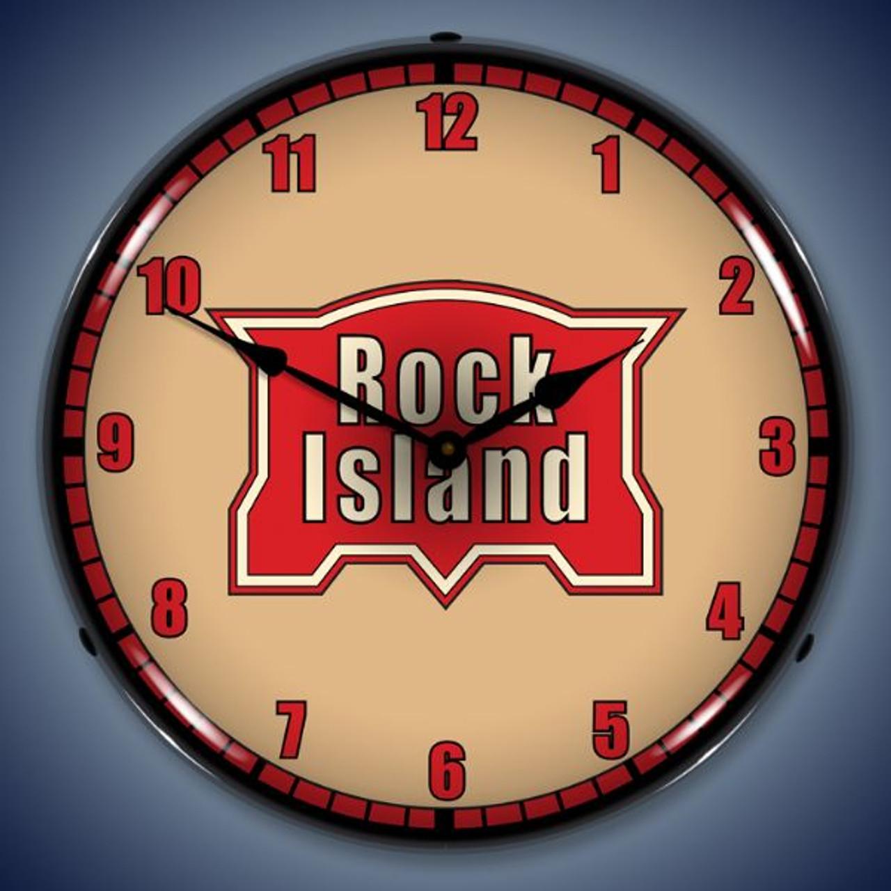 Retro  Rock Island Railroad Lighted Wall Clock 14 x 14 Inches
