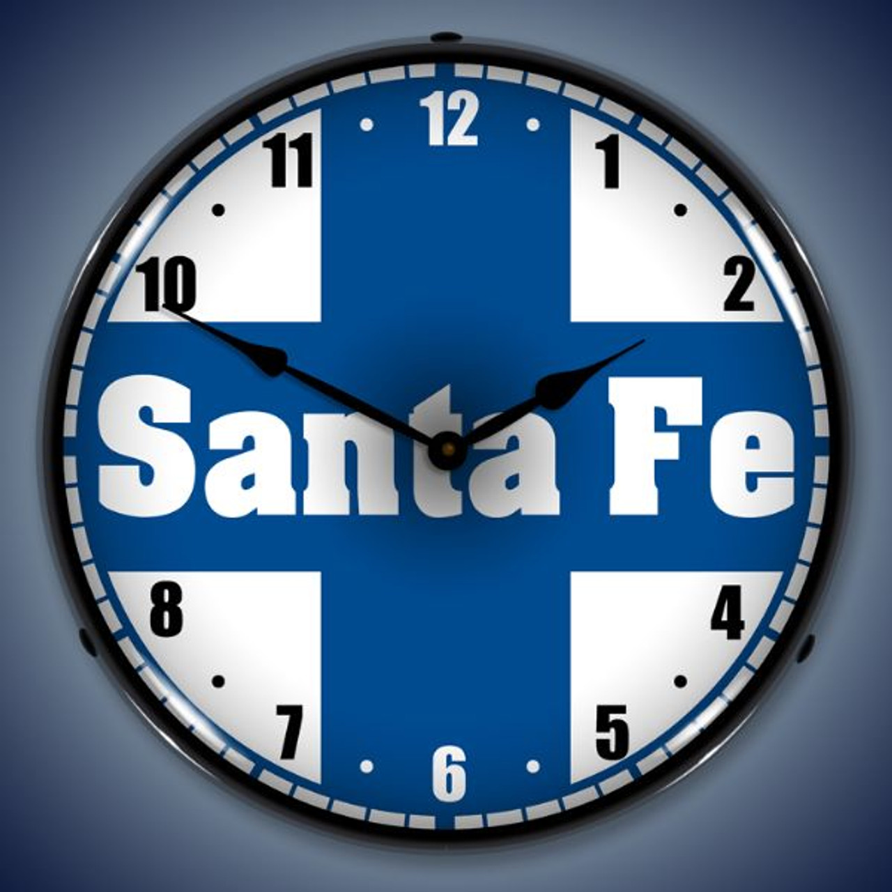 Retro  Santa Fe Railroad Lighted Wall Clock 14 x 14 Inches