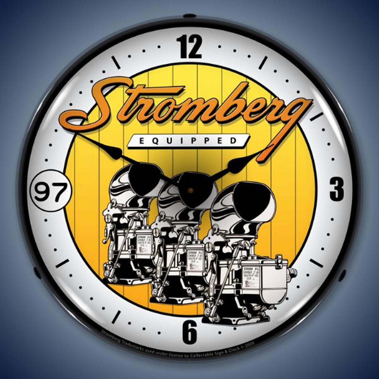Retro  Stromberg Carburetor Lighted Wall Clock 14 x 14 Inches