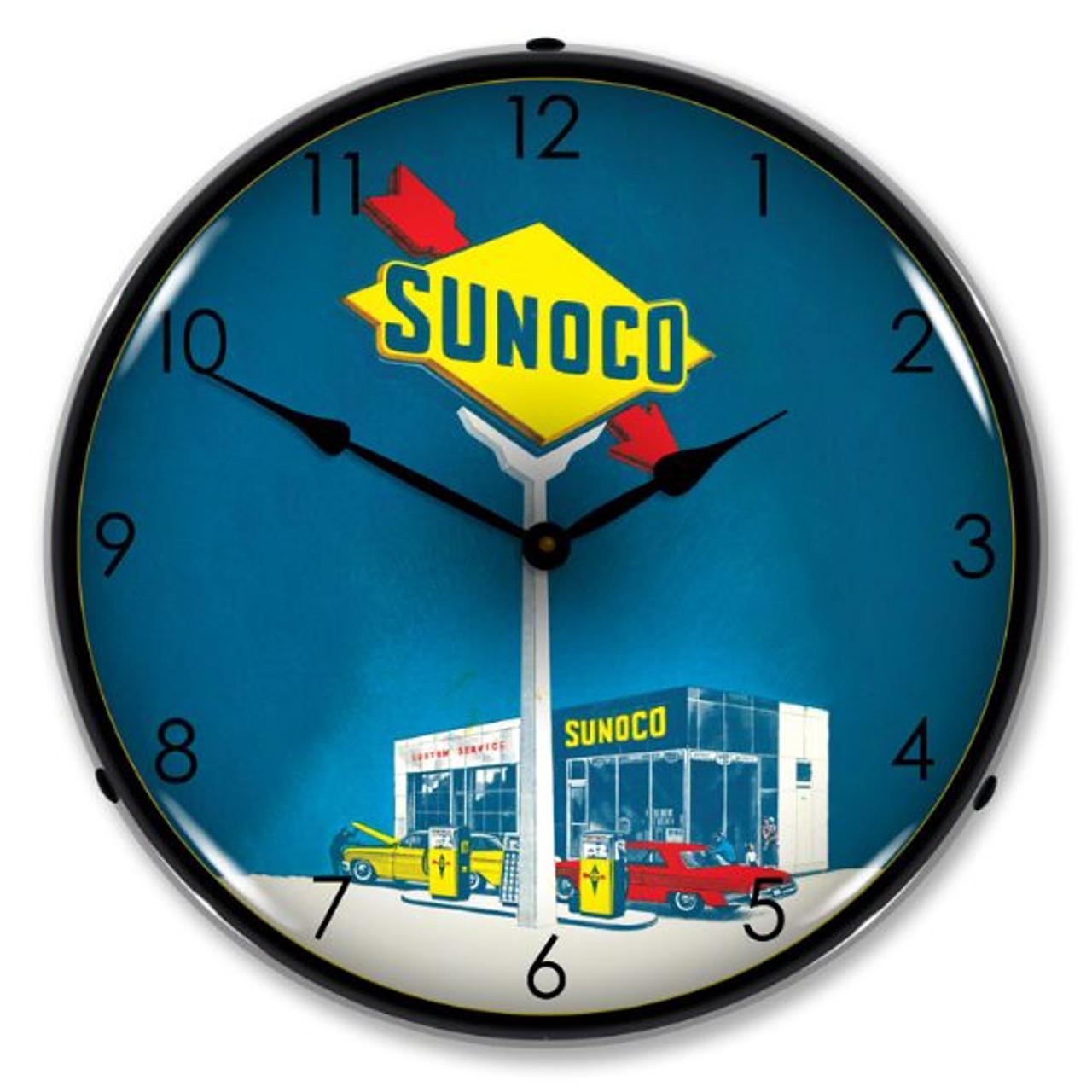 Sunoco Gas Lighted Wall Clock