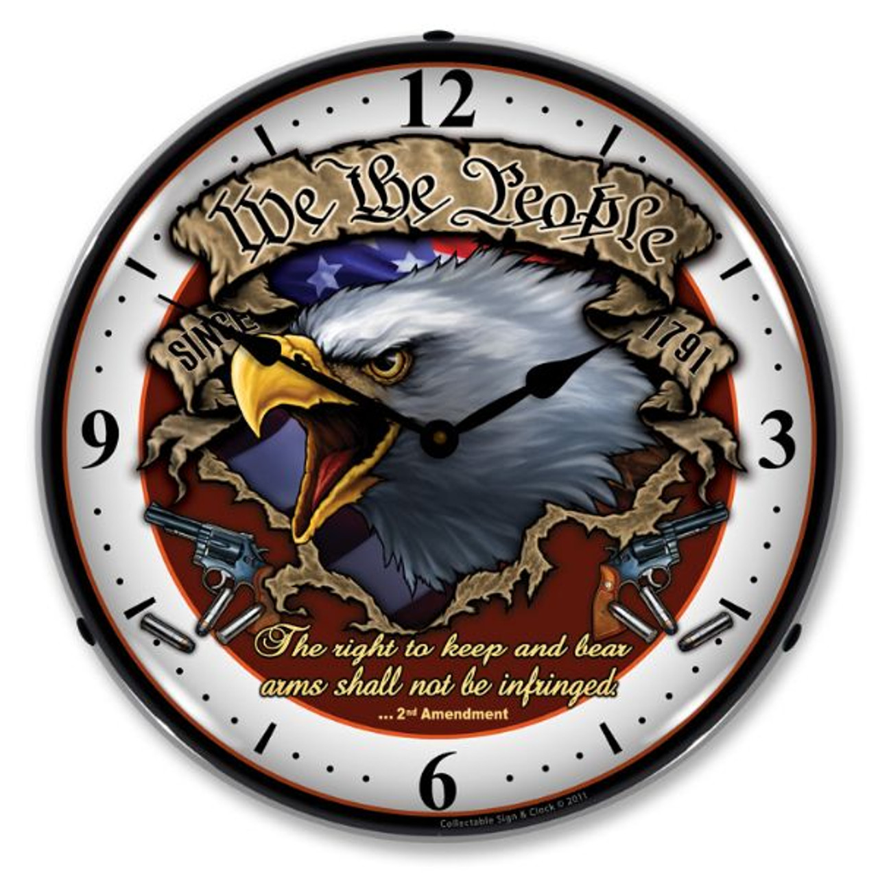 We the People Lighted Wall Clock
